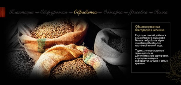 Кофе в зёрнах Nuesta - Обработка