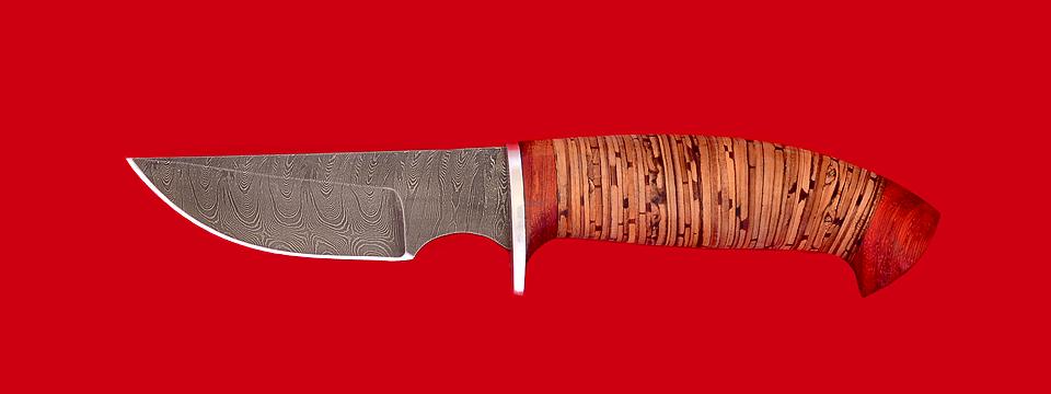 """Охотничий нож """"Белка"""", клинок дамасская сталь, рукоять береста"""