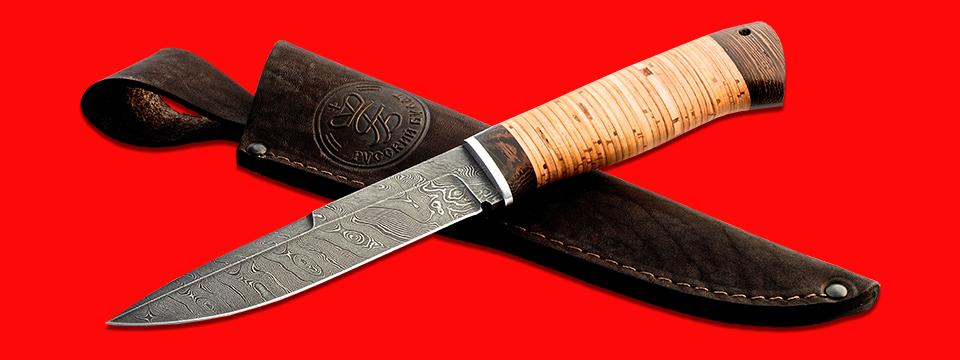"""Нож """"Мясник"""", клинок дамасская сталь, рукоять береста, с отверстием под темляк (ремешок)"""