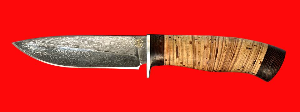"""Нож """"Панда-2"""", клинок тигельный булат, рукоять береста"""