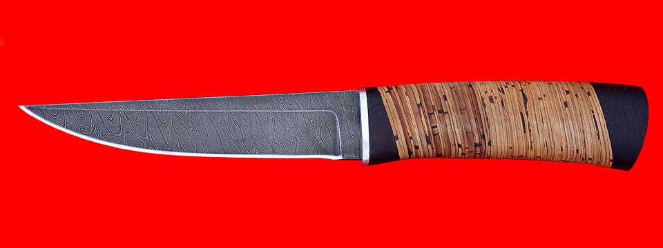 """Охотничий нож """"Секач"""", клинок дамасская сталь, рукоять береста"""