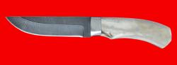 """Охотничий нож """"Бурундук"""", цельнометаллический, клинок дамасская сталь, рукоять лосиный рог"""