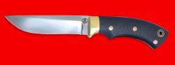 """Охотничий нож """"Грибник"""", цельнометаллический, клинок порошковая сталь ELMAX, рукоять карбон, фигурные штифты"""