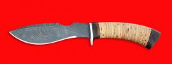 """Нож """"Кабан"""", клинок дамасская сталь, рукоять береста"""
