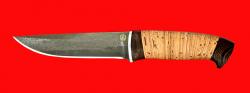 "Нож ""Марал"", клинок тигельный булат, рукоять береста"