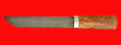 """Авторский нож """"Пареньский большой"""", клинок дамасская сталь, рукоять стабилизированная карельская береза (цвет натуральный)"""