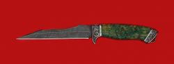 """Нож """"Пират-2"""", клинок дамасская сталь, рукоять стабилизированная карельская береза (цвет зеленый), мельхиор"""