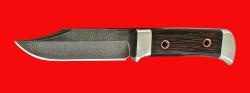 """Нож """"Росомаха"""", цельнометаллический, клинок дамасская сталь, рукоять венге"""