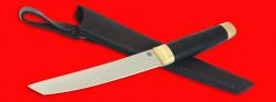 """Нож """"Самурай большой"""", клинок порошковая сталь ELMAX, рукоять кожа, латунь"""