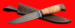 """Нож """"Турист"""", клинок сталь Х12МФ, рукоять береста, с отверстием под темляк (ремешок)"""